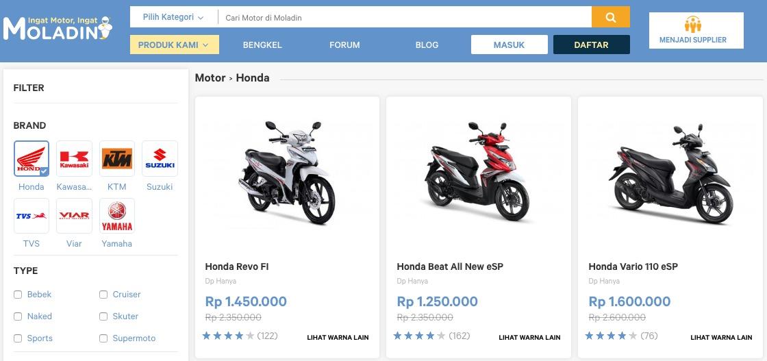 Harga dan Review Motor Honda Terlengkap di Moladin